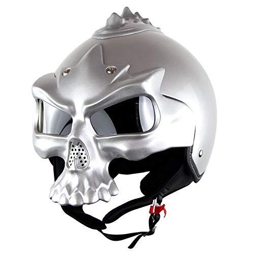 CCTOUKUI Cooler Dark Knight Skull Harley Helm,Halloween-Motorrad-Lokomotive-Abnehmbarer Masken-Halber Sturzhelm,DOT Standard Helm, Silber,L:58~59cm