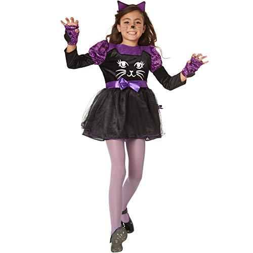 Und Lila Narr Schwarz Kostüm Kinder - dressforfun 900471 - Mädchenkostüm süßes Schmusekätzchen, Goldiges Katzenkostüm mit lila Akzenten (140 | Nr. 302097)