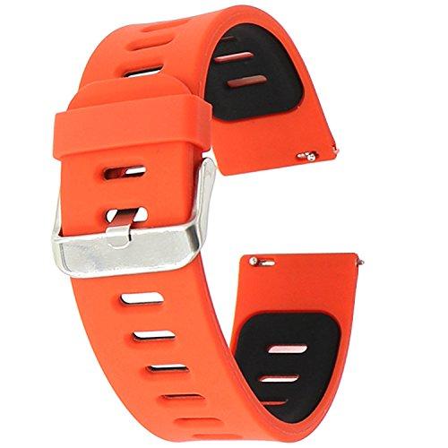 Preisvergleich Produktbild 22mm armband , EL-move 22mm Pebble Time Armband Smart Watch Bracelet Uhrenarmband Strap Silikon Sportarmband Erstatzband für Samsung Gear S2 Classic / Samsung Gear S3 frontier / S3 Classic / Gear 2 R380 Neo R381 Live R382 / Motorola Moto 360 2nd / Pebble Time Steel / LG G Watch W100/W110 / Urbane (Red Black)