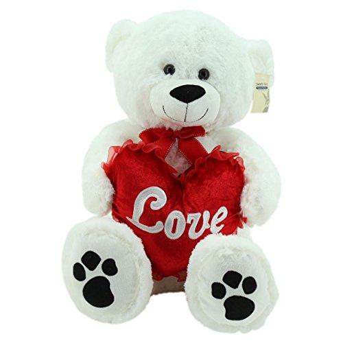 Sweety-Toys 5710 XXL Riesen Teddy Valentine Teddybär 80cm weiss mit Herz LOVE supersüss