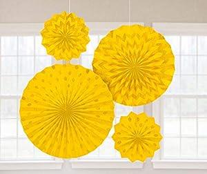 Amscan International-295000-09ventiladores de papel con purpurina, color amarillo