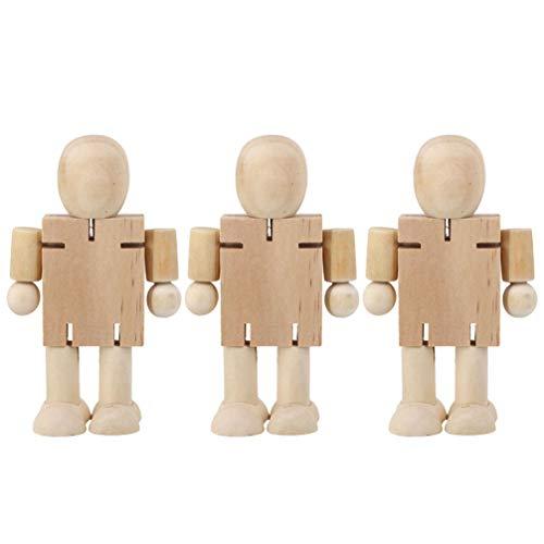 Amosfun holzpuppe Menschen Holz Roboter Block Spielzeug actionfiguren Modell Spielzeug bewegliche gelenke Puppen für Geburtstag Weihnachtsfeier Geschenk 3 stücke