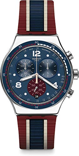 Swatch Herren Chronograph Quarz Uhr mit Gummi Armband YVS449