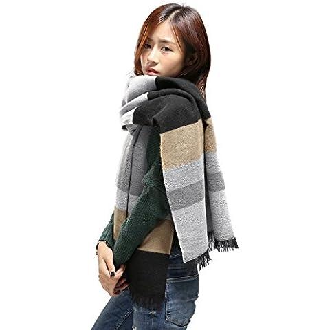 fangfang Ampia A Righe Cashmere scialle sciarpa High-end atmosfera fashion, Khaki