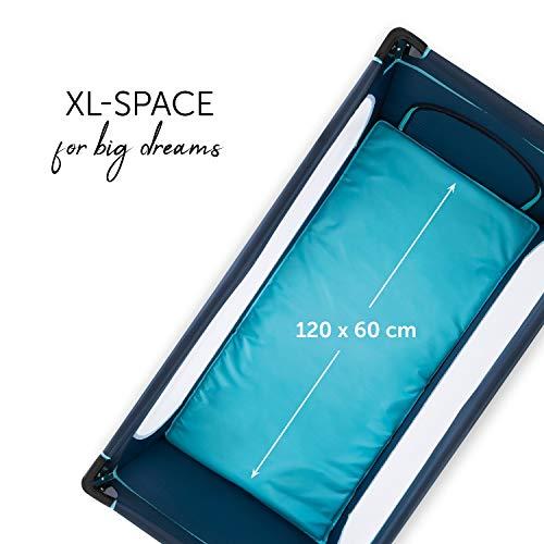 Hauck Kindereisebett Dream N Play Plus inklusive Matratze, seitlichem Reißverschluss, und Transporttasche, ab Geburt, tragbar, faltbar und klappbar, blau (navy aqua) 120 x 60 cm - 5
