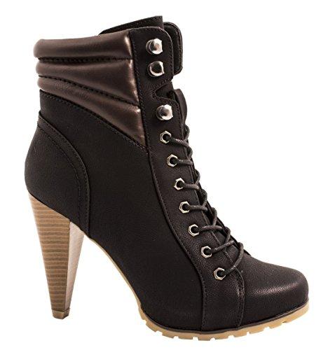 Elara Damen Stiefelette | Bequeme Ankle Boots | Chunkyrayan ZY9035-Schwarz-39