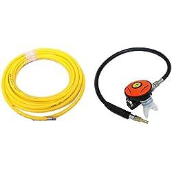 HPDAVV Tuyau à air en PVC 145 PSI Régulateur de plongée Pieuvre Narguilé avec embout buccal Résistant au débit et joint de serrage M10 × 1