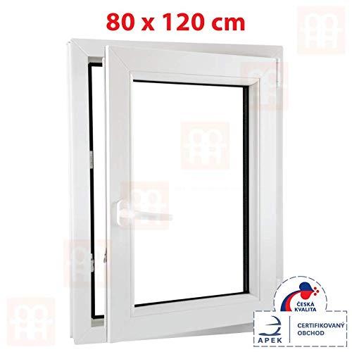 Kunststofffenster | 80x120 cm (800x1200 mm) | weiß | Dreh-Kipp-Fenster | rechts | 6 Kammern