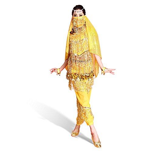 SymbolLife Belly professionnelle costume de danse, Halter Bra Top + Pantalon + Ceinture longue + foulard + Bracelet + brassard + Foulard Visage Jaune