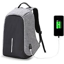 twinkbling antirrobo portátil mochila gran capacidad Casual mochila para viajar escuela trabajo con USB puerto de carga, gris