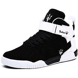 MUOU Zapatos Hombre Sneaker Deportivos Hombres Zapatos Casuales con Cordones Zapatillas Deporte Hombres de Moda (43 EU, Negro)