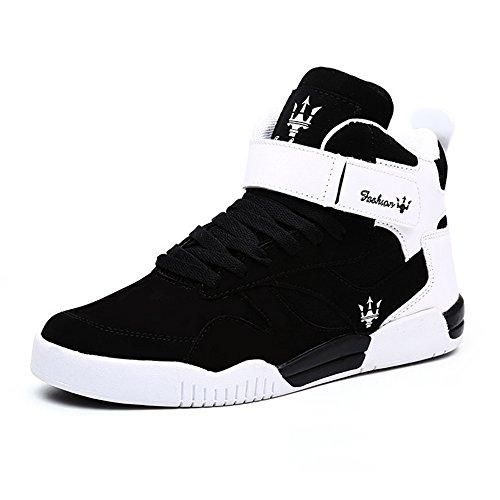 MUOU Sneaker Herren Schuhe Mode High Top Herren Freizeitschuhe Atmungsaktive Leder Männer Turnschuhe Schwarz (42, Schwarz) (Sneaker-speicher-fall)