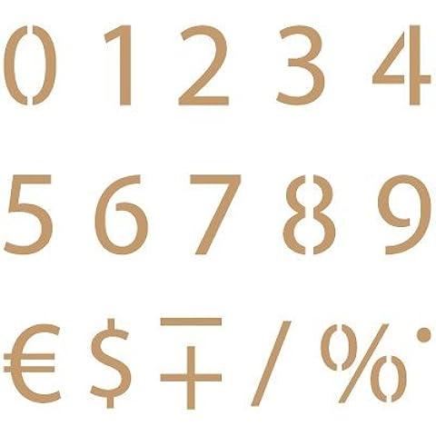 Stencil Deco Abecedario Numeros 003. Medidas aproximadas: Medida exterior del stencil: 20 x 20 cm Medida del diseño: 1 x 1,5 cm Medida del número: 1 x 1,5
