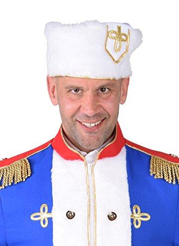 Kostüm Väterchen Frost - Panelize Weiße Fellmütze aus Plüsch Kosake Russe Väterchen Frost Gardemajor Gardeoffizier