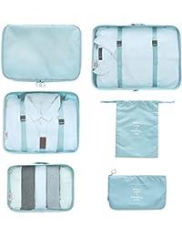 SPAHER Pliable Sac Organisateur de Bagage 6 Set Système de Cube d'emballage Voyage Valise de Cabine Sacoche Vêtement Trousses de Toilette Sacs de Rangement Voyage Packing Cubes Pochettes