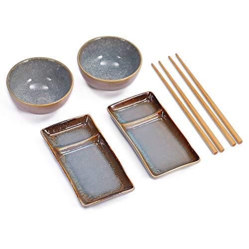Diseño Sushi Set en azul gris schattierter Color compuesto de dos platos de sushi con ausnehmung para salsa de soja y wasabi, o dos cuencos para sopa de miso arroz, y dos pares de palillos de bambú. los platos y cuencos son de cerámica, una hermosa y...