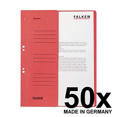 Original Falken 50er Pack Ösenhefter. Made in Germany. Aus Recycling-Karton mit halbem Vorderdeckel und Behördenheftung für DIN A4 rot Hefter Sammelmappe Blauer Engel