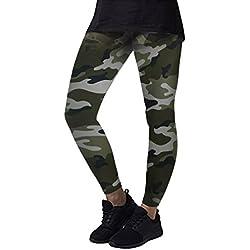 Longra Mujer Pantalones de Camuflaje Deportivos, Mujeres Yoga de Alta Cintura Deportes Fitness Leggings Workout Pants (Verde, M)