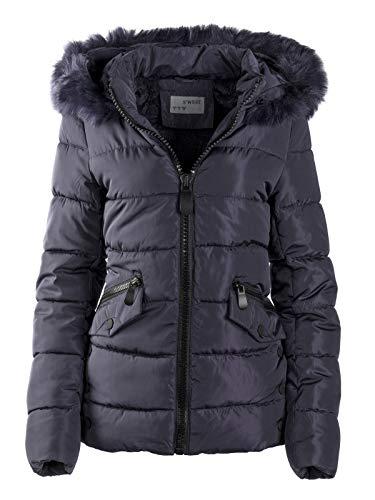 S'West Gesteppte Damen Winter WARME Jacke Mantel Kapuze MIT Fell ABNEHMBAR, Farbe:Dunkelblau, Größe:XXL