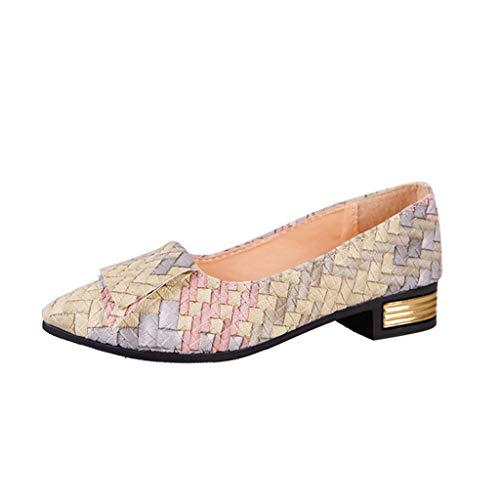 Yvelands Damen Mädchen Frühling mischte Farben beiläufige Schuhe weibliche hübsche Flache Schuhe(CN-35,Beige)