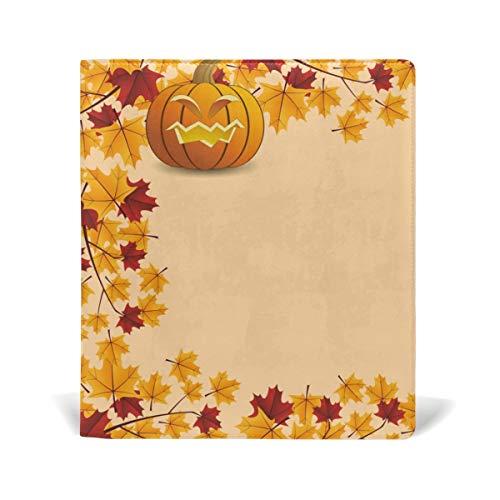 PU-Bucheinband Schul- / Lehrbuchumschläge für die meisten Hardcover-Lehrbücher 9 X 11 IN Blooming Purple Orchid Flowers Saflor Halloween Pumpkin With Leafs