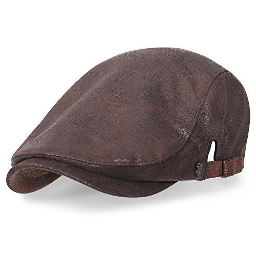 Ausmaß Künstliches Leder Gatsby Schieber Hut Cabbie (Chauffeurhut) Golfermütze Flach Cap, Brown (Paperboy Hut Für Männer)