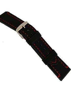 LEDERBAND 20 mm BAND CATALONIA Fliegeruhren Retro Look STRAP Black schwarz rote Naht