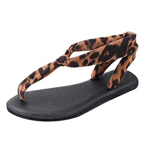BURFLY Damen Sommer Retro Leopard Tanga Sandalen Damen mit Schnallen Flache Sandalen Sandalen Strandschuhe