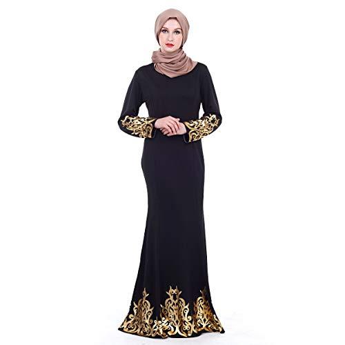 f1e0804205c6 Ginli Vestiti Musulmani Musulmano Maxi Dress Tromba Maniche Abaya Long Robe  Gowns Tunica Abito A Maniche