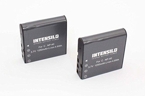 INTENSILO 2 x Li-Ion Akku 1250mAh (3.7V) für Videokamera Camcorder Jay-Tech Videoshot DDV-R8, Full-HD 12z wie NP-40, PAC-0040. Li-ion Camcorder-akku