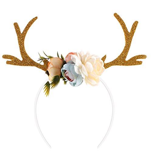 Tinksky Funny Deer Antler Bandeau avec fleurs Blossom Nouveauté Party Bande à cheveux Head Band Christmas Robes de fantaisie Accessoires (Khaki)