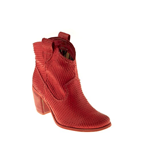 Felmini Damen Schuhe - Verlieben Vegas 7487 - Cowboy & Biker Stiefel - Echtes Leder - Rot - 39 EU Size (Rot Leder Cowboy-stiefel)