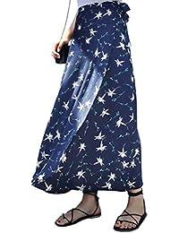 ecad89bf02f Botanmu Femme Jupe Portefeuille Longue Jupe de Plage Fendue Grande Taille  Jupe Imprimée Fleurie Chiffon Ajustable