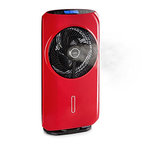 Klarstein Cool Tropic • Vertical fan with air humidifier • 90 ° oscillation • WhisperFlow technology • 48 W • 2820 m³ / h • 8 speeds • 1.6 L • max. 59 db • Touch control • Red