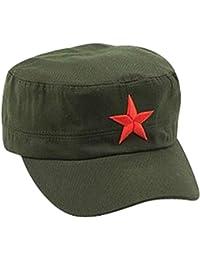 Ogquaton Gorra clásica del ejército con pentagrama cadete sombrero militar  tapa plana moda retro gorra verde 48cc743fb80