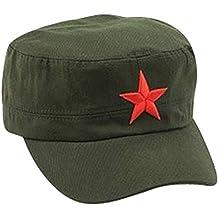 9d2baefeec6f9 Ogquaton Gorra clásica del ejército con pentagrama cadete sombrero militar  tapa plana moda retro gorra verde