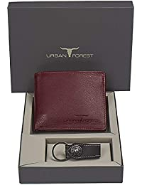 Urban Forest Leo Brown Leather Wallet And Keyring Combo Gift Set For Men - Men's Wallet Combo