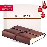 Belcraft Vietri Album Fotografico in Pelle Riciclata, Elegante Pensiero con Scatola Regalo, Realizzato a Mano da Artigiani Toscani, A4 (23x30 cm) Marrone