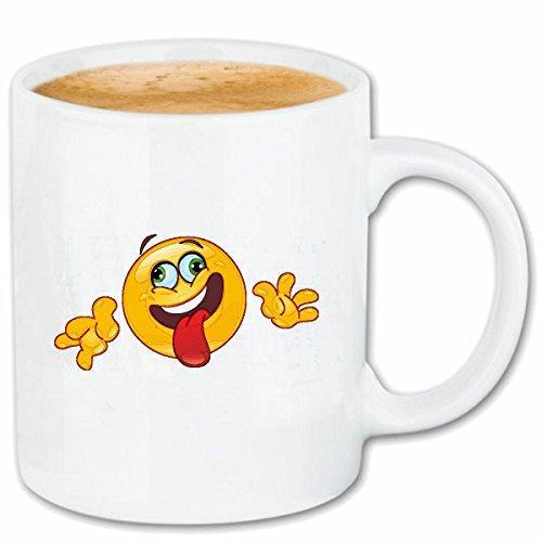 Reifen-Markt Kaffeetasse LACHENDER Smiley STRECKT DIE Zunge Raus Smileys Smilies Android iPhone Emoticons IOS GRINSEGESICHT Emoticon APP Keramik 330 ml in Weiß (Smiley Zunge Raus)