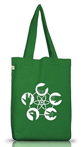 Shirtstreet24, Atom - Stein Schere Papier, Jutebeutel Stoff Tasche Earth Positive Moss Green