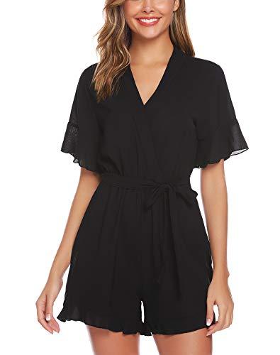 Abollria tutina casual a maniche corte monopezzo donna estivo con cintura un pezzo sportivo jumpsuit playsuit per andare a mare spiaggia vacanza
