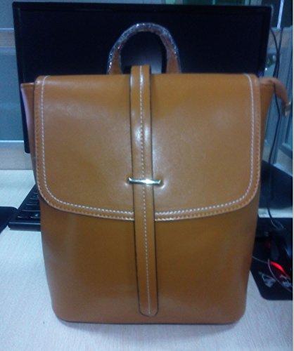 Mefly Mit Drei Einzelnen Schulter Rucksack Wachs Leder Handtasche Mode brown