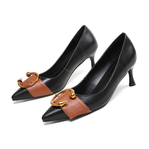 Frauen Frühling Leder Schuhe Mit Hohen Absätzen Metall Schnalle Farbabstimmung Flache Schuhe Court Schuhe Für Tägliche Party Kleid Pumpen,Black-EU:38/UK:5.5