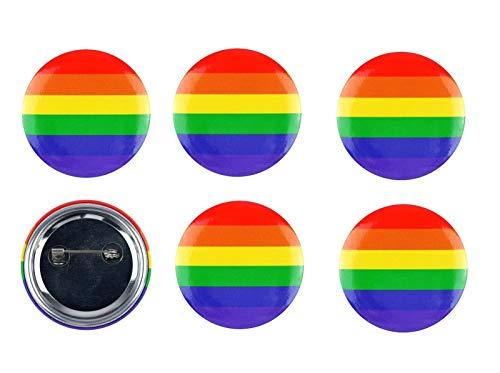 B-Creative Gay-Pride Verkleidung LGBT Parade Party-Zubehör (3 Pride Regenbogen-Anstecker)