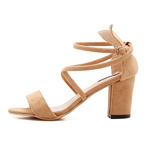 KonJin Women Sandals Heels Summer Ladies Causal Single Ankle Buckle Strap Open Toe Shoes Square Heel Sandals Womens Wool Toggle