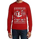 Maglione Divertente di Natale - Santa Dab Maglia Uomo Manica Lunga Medium  Rosso c27e72007e4d