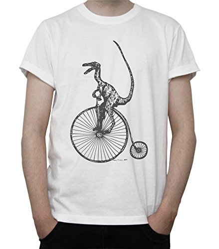 Dinosaur Riding High Wheel Bicycle - Penny-farthing Graphic Mens T-Shirt Blanc