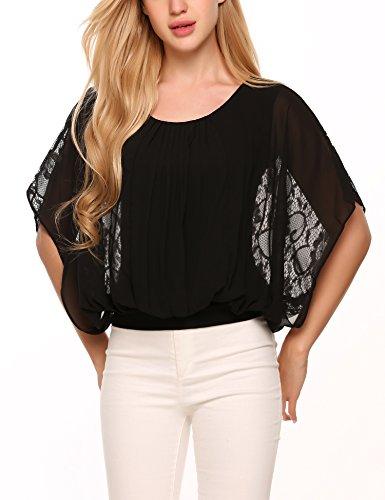 Finejo Damen Chiffon T-Shirt Fledermaus Bluse Loose Fit Shirt Chiffon Top Obertail A+Schwarz