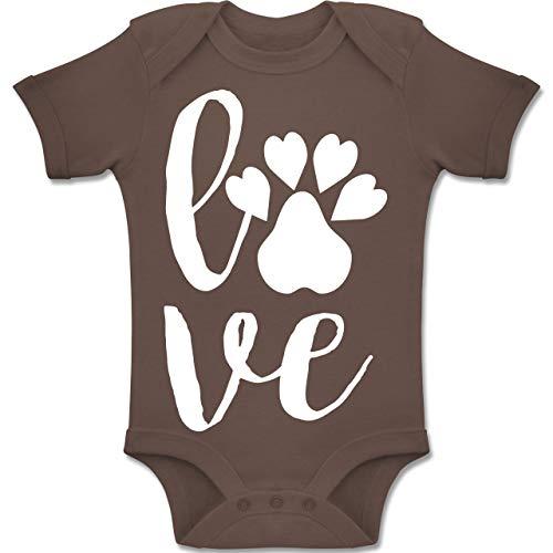 e Baby - Tierliebe - 12-18 Monate - Braun - BZ10 - Baby Body Kurzarm Jungen Mädchen ()