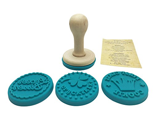4 x Glückskeks-Stempel, insg. 4 Designs: Keksstempel-Set für Glückskekse, Plätzchenstempel-Set, Stempel-Set für Glückskekse, Cappuccino Kekse inkl. Rezept damit die Plätzchen und Kekse auch wirklich gelingen